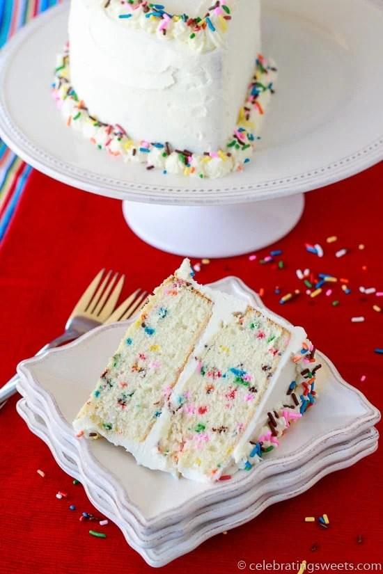 Celebrate a half-birthday with this fun and simple Funfetti Half Birthday Cake!