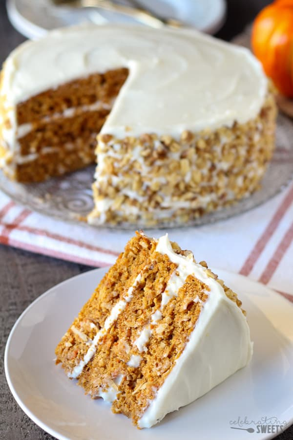 Pumpkin Carrot Cake with Cream Cheese Frosting - A moist layer cake filled with pumpkin, carrots, and spices.