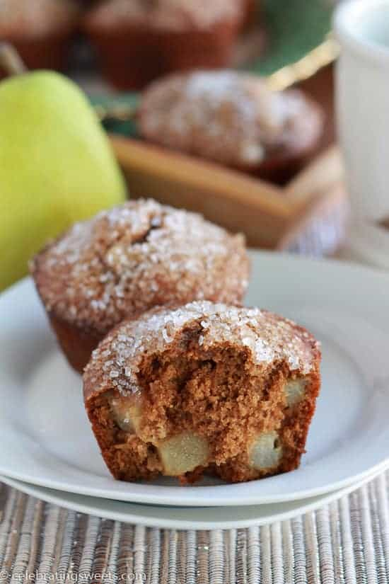 Gingerbread Pear Muffins - Celebrating Sweets