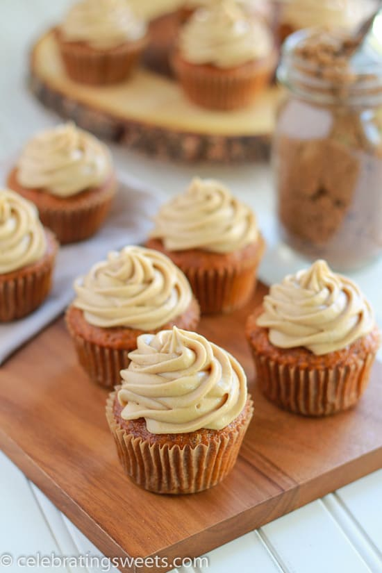 ... carrot cake cupcakes topped with a rich brown sugar cream cheese