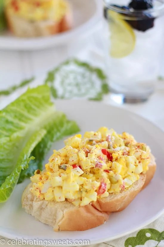 Easy egg salad made with pimentos and sweet pickle relish
