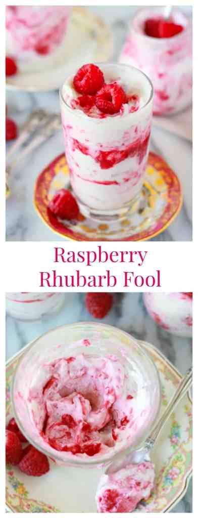 Raspberry Rhubarb Fool- A super easy dessert featuring raspberries and rhubarb swirled with whipped cream