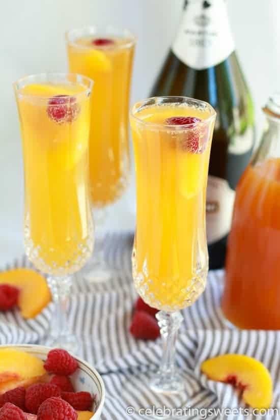 Raspberry Peach Mimosas | Celebrating Sweets