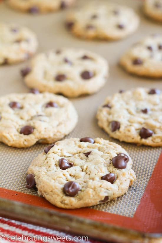 ... Peanut Butter Oatmeal Cookies made with or without chocolate chips