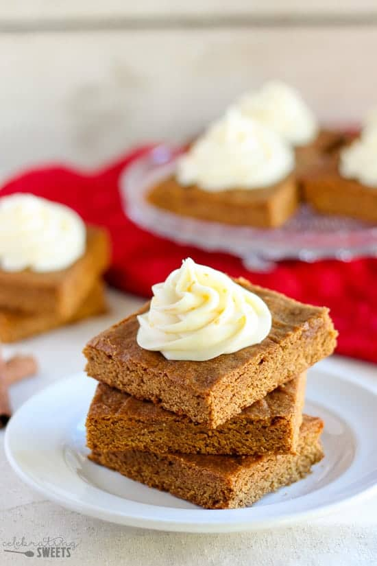 Chewy Ginger-Molasses Bars with Orange Cream Cheese Frosting