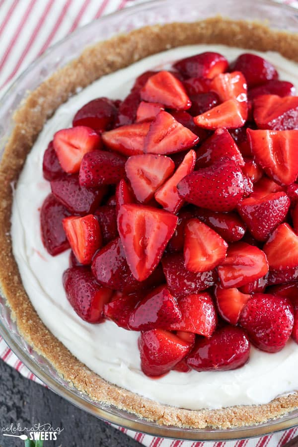 No Bake Fresh Strawberry Cream Cheese Pie | Celebrating Sweets