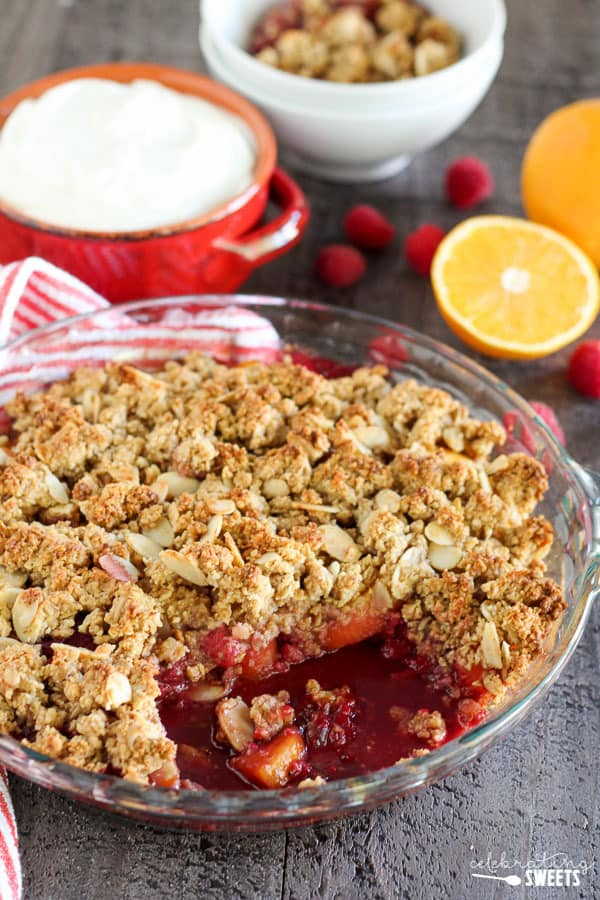 ... raspberries and peaches and topped with a gluten free almond-oat