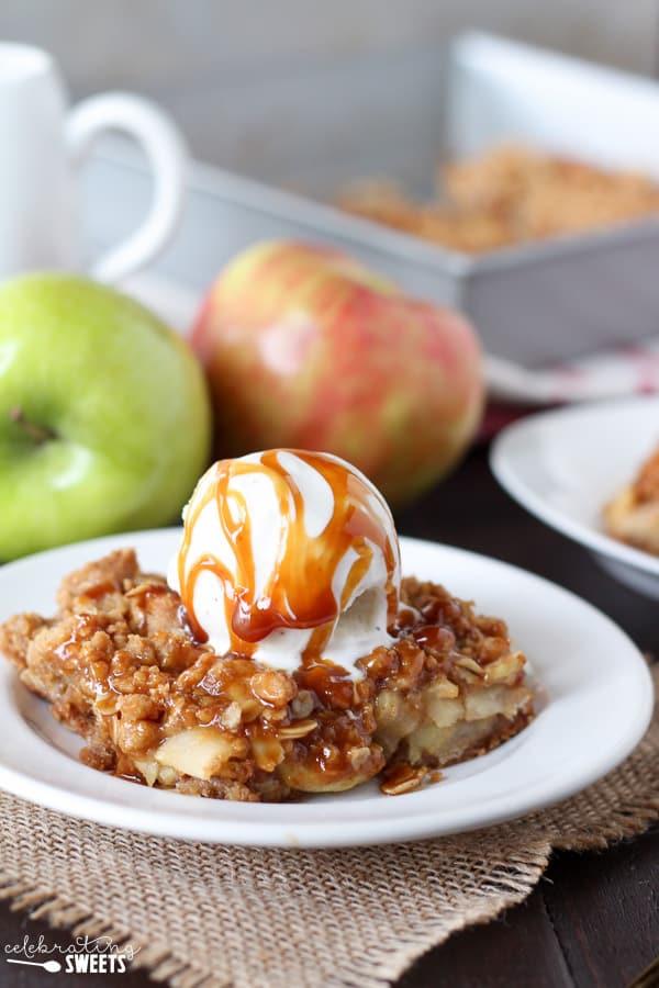 Caramel Apple Crumb Bars - A brown sugar oat crumble serves as both ...