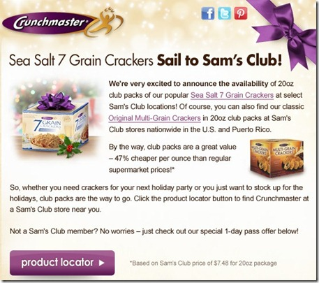 cm Crunchmaster Crackers at Sam's Club