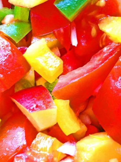 Paprika-Pfirsich-Salat