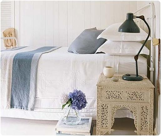 cottage living white and blue bedroom