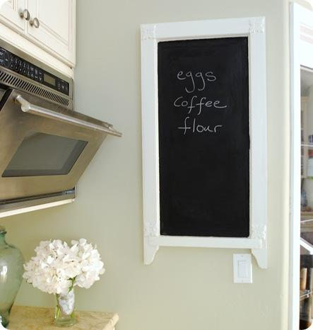 micro and chalkboard on wall