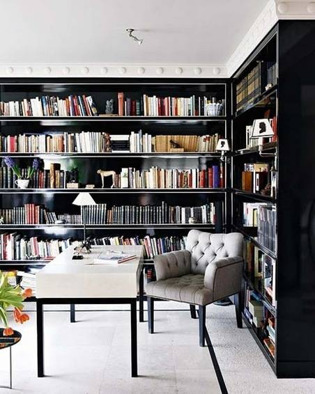 black lacquer bookshelves via lgn