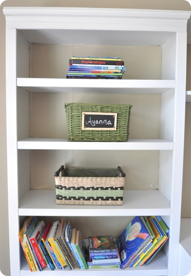 baskets and books on shelf