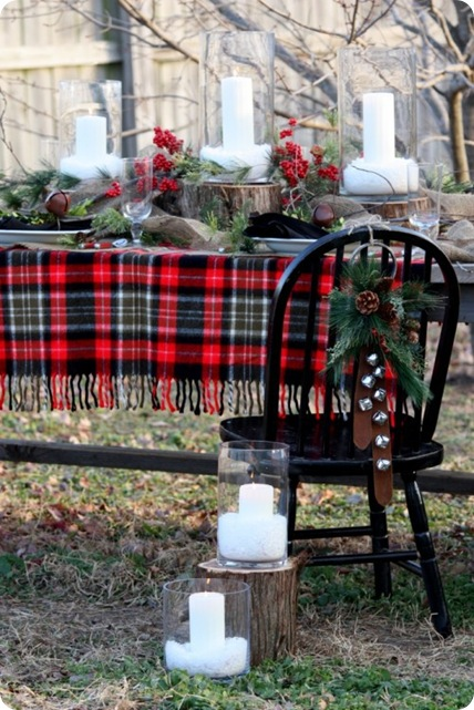 flannel blanket outdoor christmas table