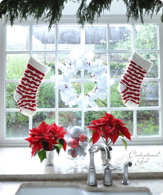 stockings in kitchen window