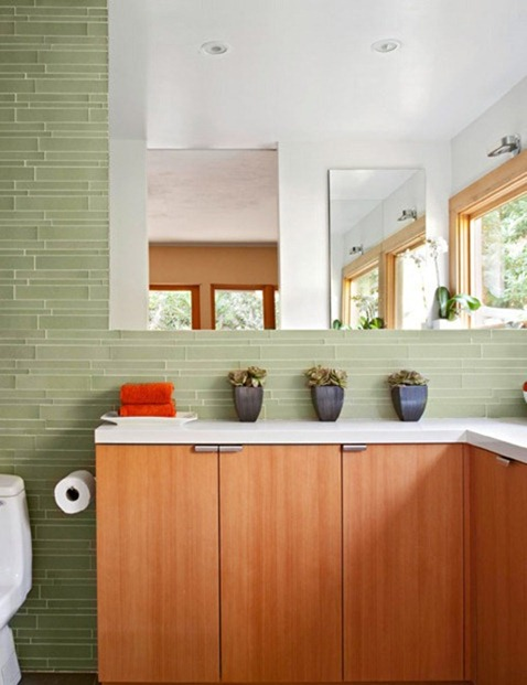 green glass tile wall
