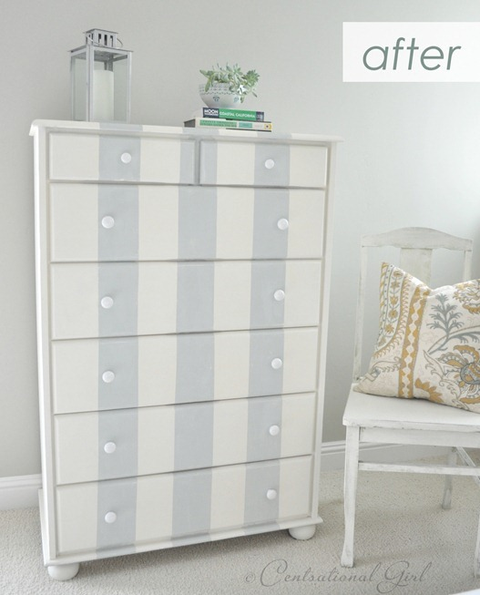 gray striped dresser after
