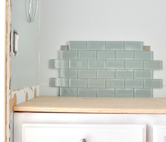 offset blue glass tile