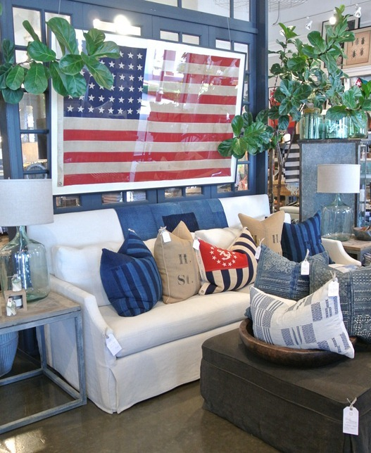 americana pillows and flag