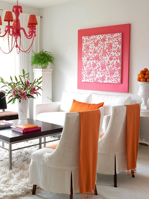 pink and orange living room bhg