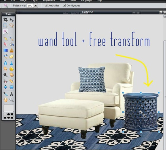 wand tool plus free transform