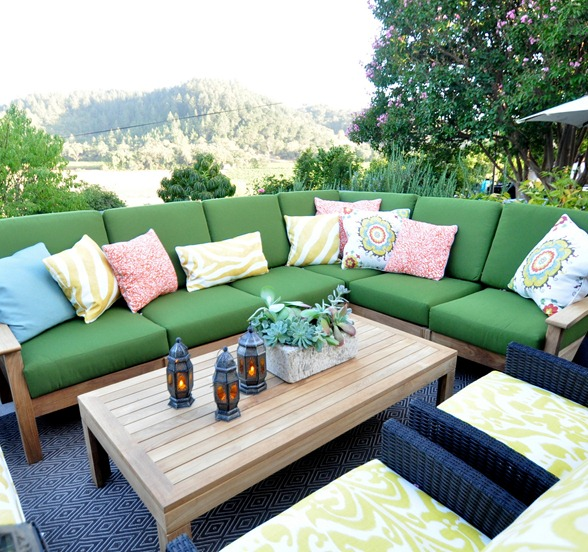 green outdoor sectional vineyard view