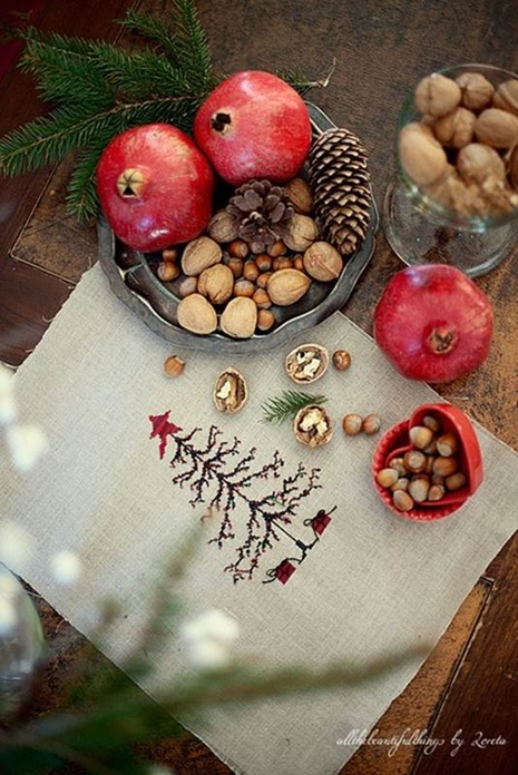 pomegranate and evergreen sprig