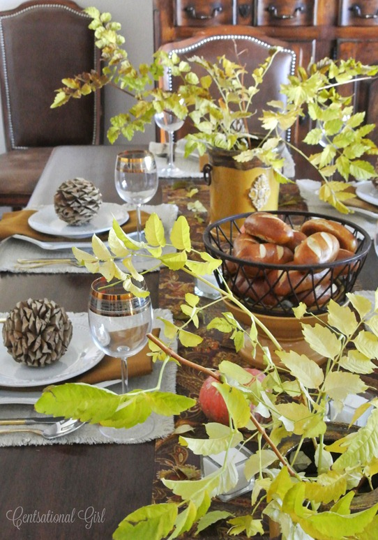 yellow leaves on thanksgiving table