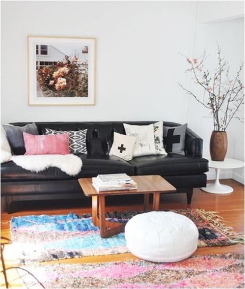 leather sofa colorful rugs sfgirlbybay