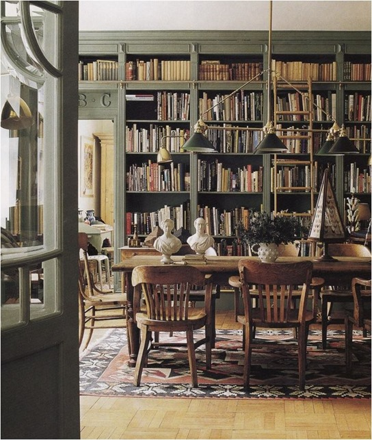 green library bookcases