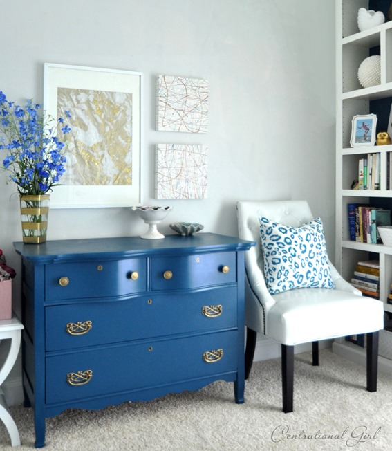 blue dresser in guest room