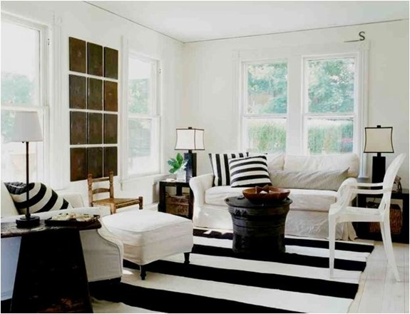 black and white rug and pillows