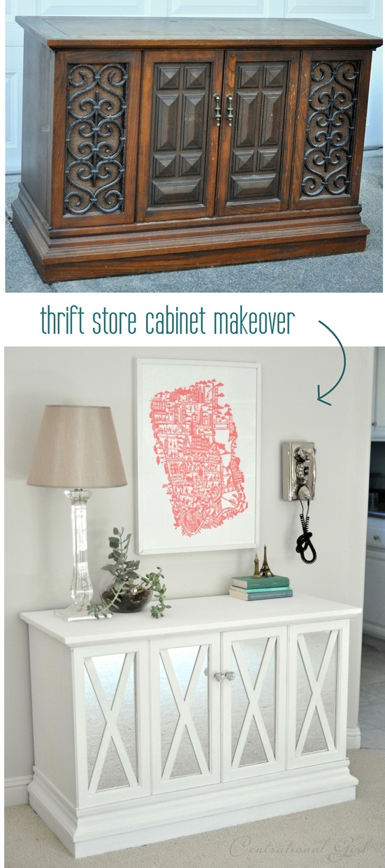 thrift store cabinet makeover