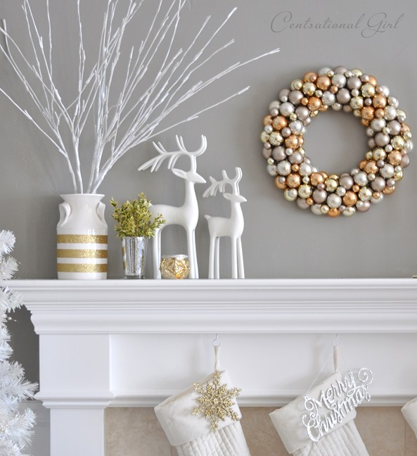 mantel with branches and wreath