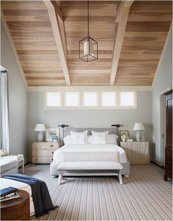 gray blue bedroom wood ceiling