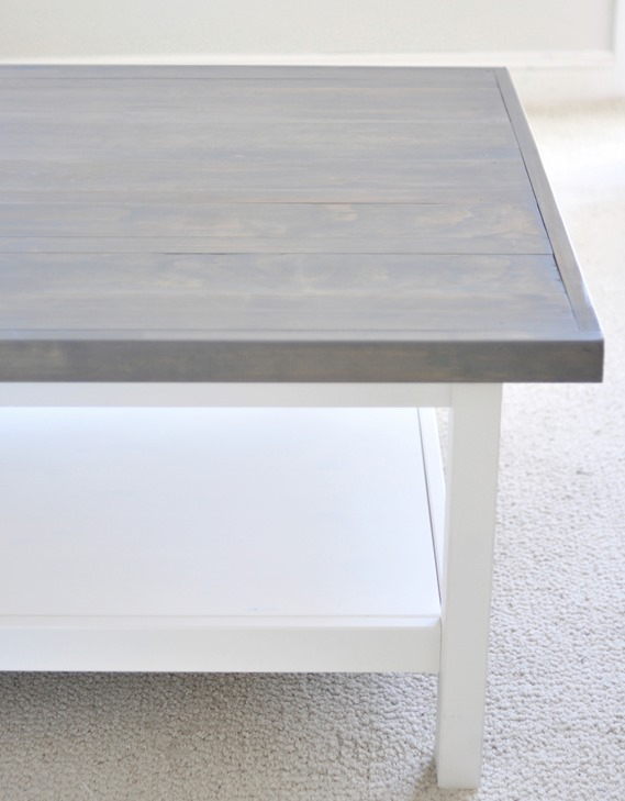 gray stained wood on hemnes coffee table