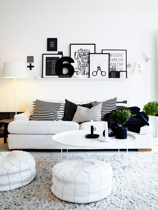 ikea ribba frames black and white living room