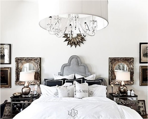 layered black and white bedroom