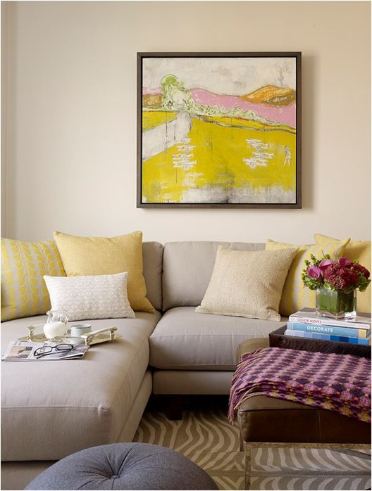 pale yellows in living room