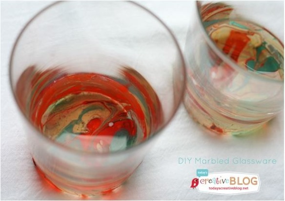 diy marbled glassware