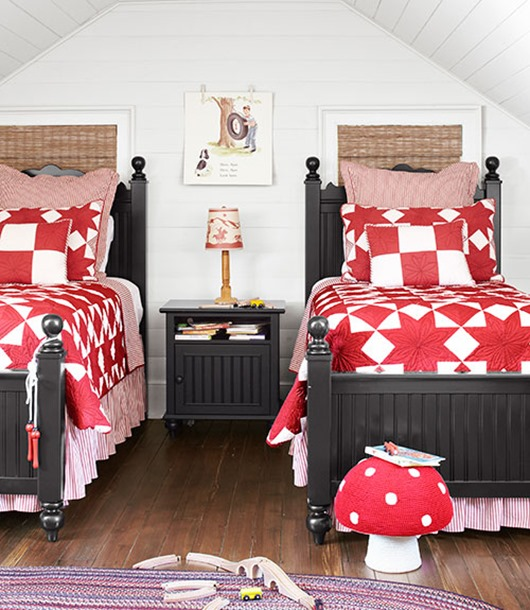 boys room red and white quilts