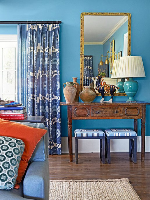 layered blue living room
