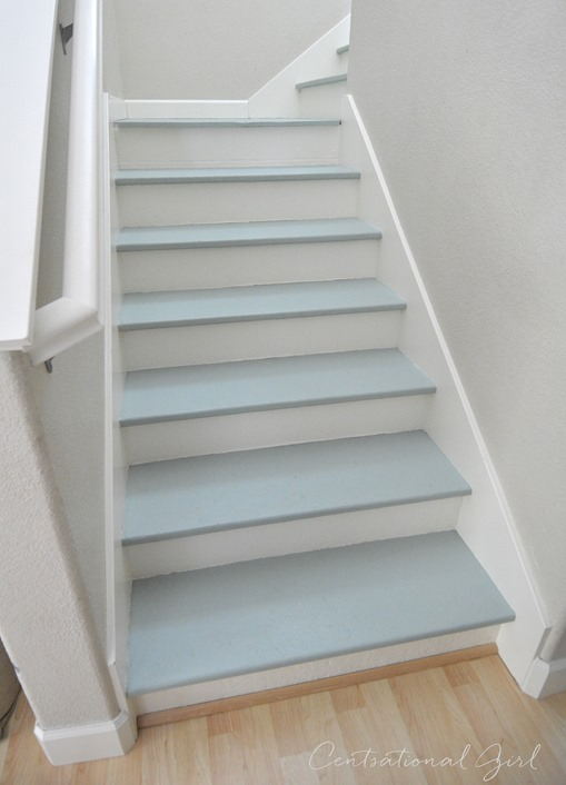 painted blue and white staircase