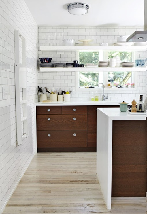wood lower white upper cabinets