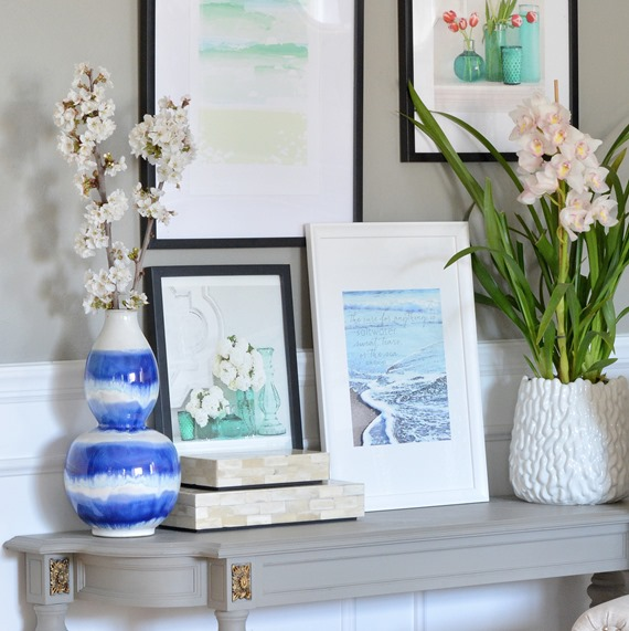 art prints and vase