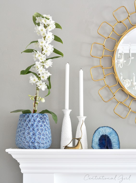 blue orchid pot gold link mirror
