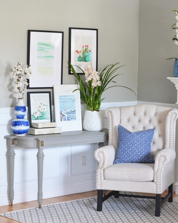 reading chair navy pillow console table