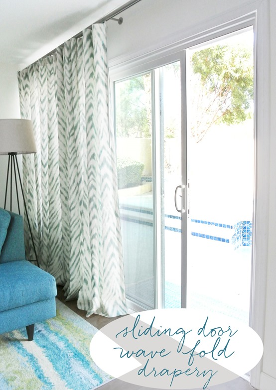 sliding door wave fold drapery