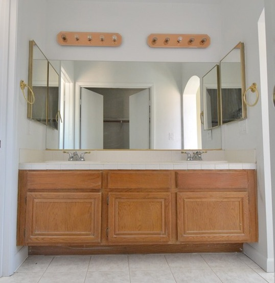 master vanity before. Master Bathroom Vanity Makeover   Centsational Girl